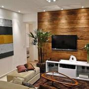 木色调客厅背景墙