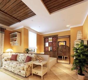田园风光100平米的家庭客厅隔断墙装修效果图