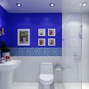 蓝白相间洗手间设计