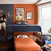 暖色调卧室高低床
