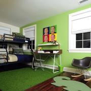 现代创意卧室高低床
