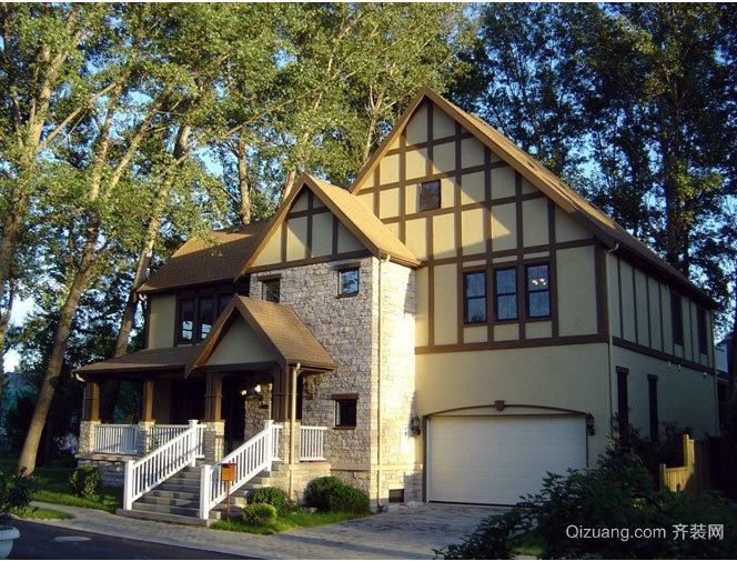 置身于幽静风景中的美式木屋别墅效果图大全