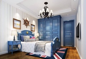 海风吹进家 100平米现代地中海风格小卧室装修效果图