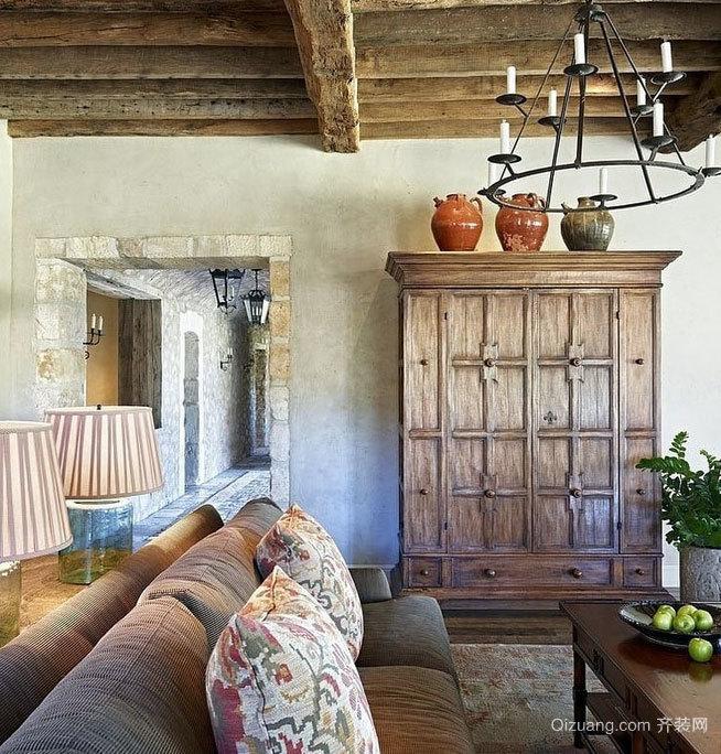 150平米自然恬静回归本色的原木大户型房屋装修效果图