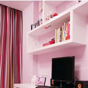 粉色调书柜装修设计