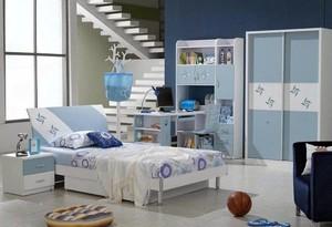 清新蓝色调调25平米儿童房装修设计效果图