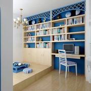蓝色调书柜装修设计