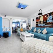 蓝色调客厅装修图片