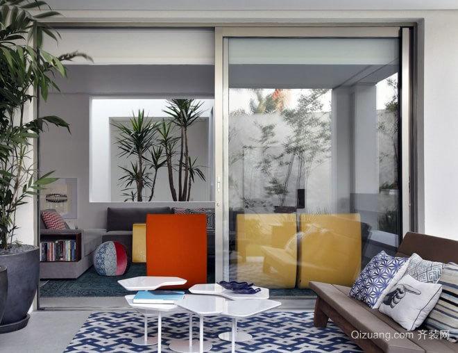 130平米开放式纯色基底打造的内敛灰色公寓装修效果图