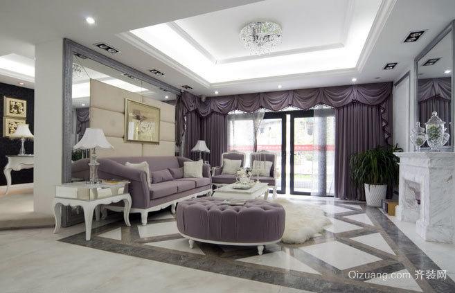 180平米古典高雅白色欧式客厅别墅装修效果图