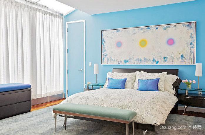 情迷海洋蓝 前卫精致自然复式楼卧室装修效果图