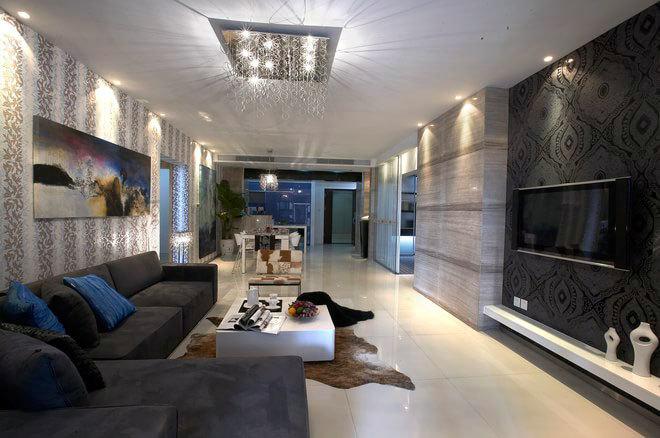 超现实主义蓝调 无拘无束的创意客厅房屋装修效果图
