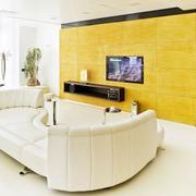 淡黄色背景墙装修图片