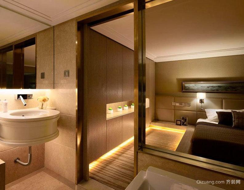 2015尽是奢华的欧式卫生间玻璃隔断墙装修效果图大全