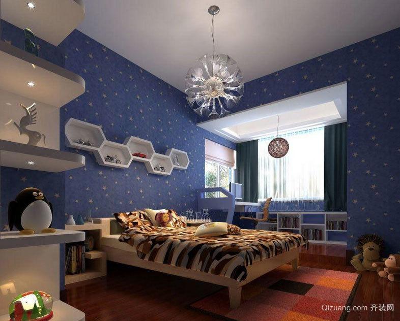 2015都市混搭风格儿童卧室背景墙装修效果图实例