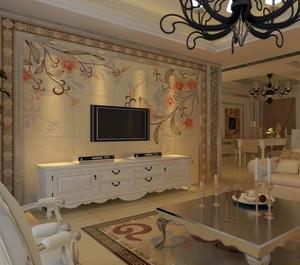 极度华丽的公寓欧式客厅瓷砖背景墙装修效果图鉴赏