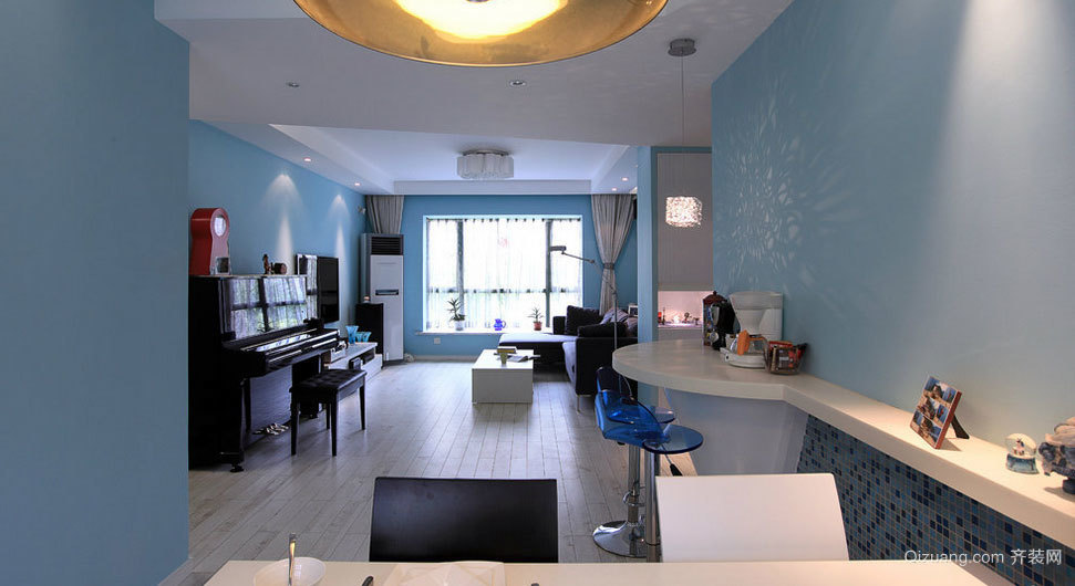 2015北欧风格别墅客厅吧台装修效果图片