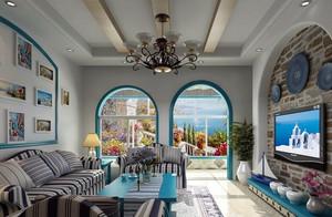 神秘海洋气息 地中海风格客厅背景墙效果图