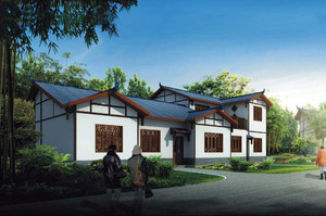 天蓝草绿的简约农村一层房屋设计图鉴赏