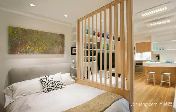 纯白卧室镂空隔断效果图
