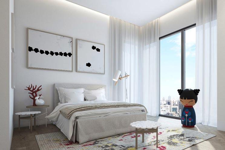 主卧床头柜效果图_5款卧室床头柜常规尺寸摆放效果图房间内实木