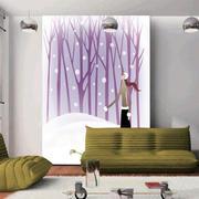 紫色怡情客厅背景墙