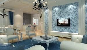 蓝色调客厅背景墙