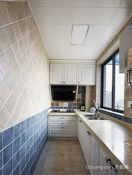 蓝白结合经典90平米两室一厅房屋装修效果图