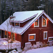 雪中木屋设计图片