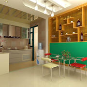 暖色调开放式厨房装修