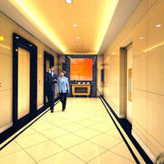 淡黄色调电梯装修设计