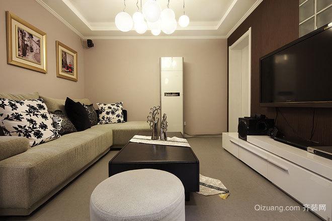 80平米时尚简约黑白搭配的现代公寓装修效果图