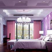 紫色怡情卧室壁纸装修