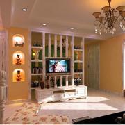 暖色调电视墙设计