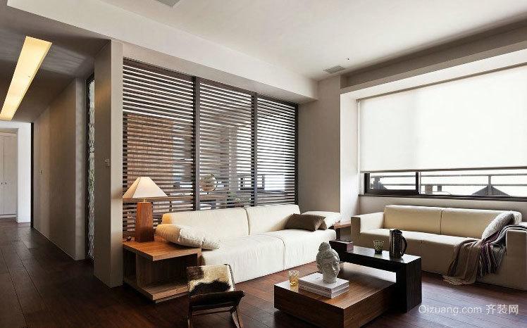 简洁宁静新中式大户型客厅装修效果图