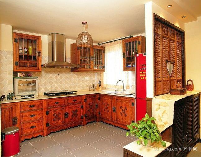 与客厅相连:中式风格开放式厨房装修效果图