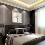 冷色调床头背景墙图片