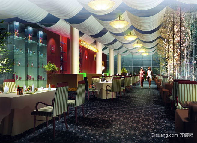 让您吃好喝足:特色餐馆吊顶装修效果图