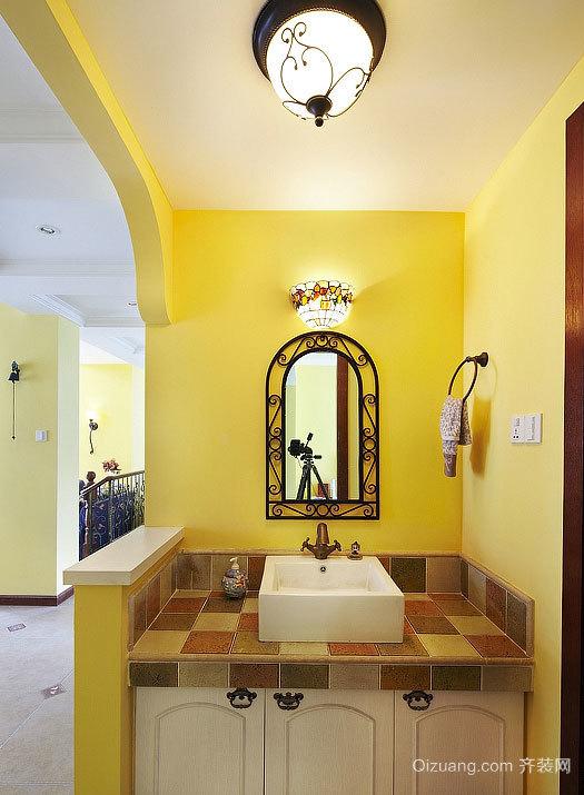 15平米现代简约风格黄色色调个性卫浴装修效果图
