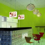 青色调奶茶店设计