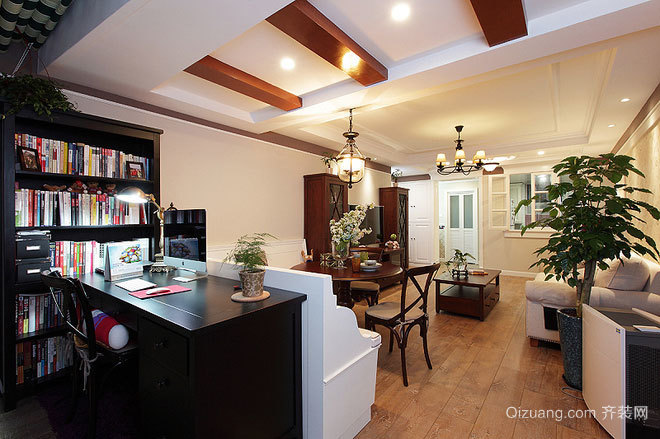 黄昏之光温暖而温馨的三口之家美式房屋装修效果图