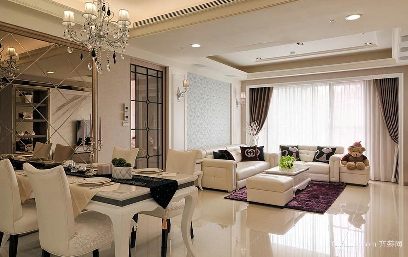 让人难以割舍的110平米公寓洛可可风格家具装修效果图