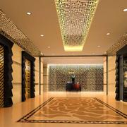 金黄色调宾馆大厅设计