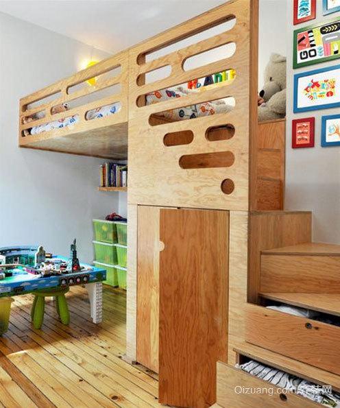 爱孩子的都来看看:气氛欢快儿童卧室高低床装修效果图欣赏