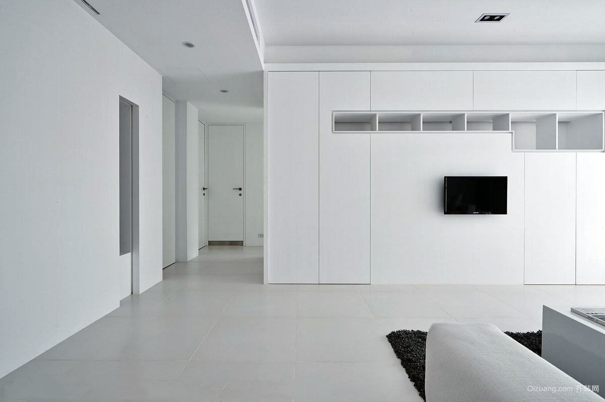 130平米纯白层次客厅设计的公寓装修效果图