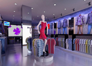 亮丽的风景线:市中心十字路口服装店装修效果图欣赏