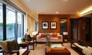 容纳十人的中式风格三室两厅两卫装修效果图