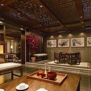 中式会所背景墙装修