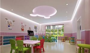 甜美色幼儿园教室墙面
