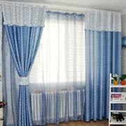 蓝色调窗帘设计